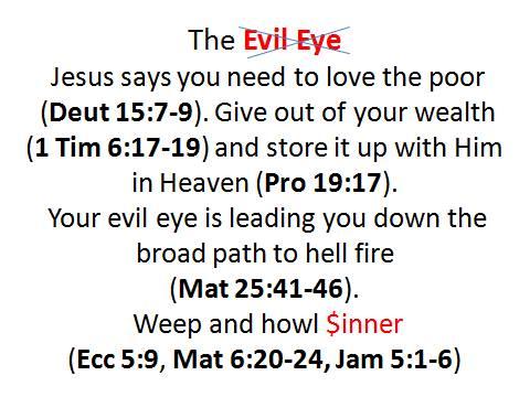 evil eye poor money almsgiving
